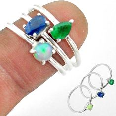 3.14cts natural sapphire ethiopian opal emerald silver 3 rings size 6.5 t50955