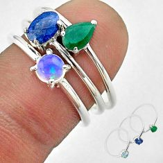 2.98cts natural sapphire ethiopian opal emerald silver 3 rings size 6.5 t50960