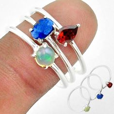 2.98cts natural sapphire ethiopian opal garnet 925 silver 3 rings size 8 t50954