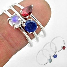 3.14cts natural sapphire ethiopian opal garnet silver 3 rings size 7.5 t50957