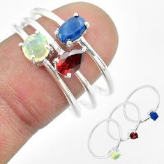 3.14cts natural sapphire ethiopian opal garnet silver 3 rings size 8.5 t51120