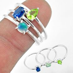 2.81cts natural sapphire ethiopian opal peridot 925 silver 3 rings size 8 t50974