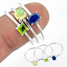 3.28cts natural sapphire ethiopian opal peridot 925 silver 3 rings size 9 t51041