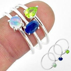 3.14cts natural sapphire ethiopian opal peridot silver 3 rings size 8 t50951
