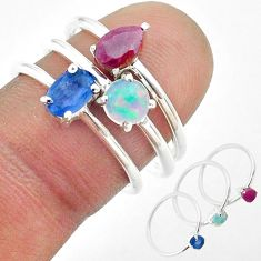 3.11cts natural sapphire ethiopian opal ruby 925 silver 3 rings size 6.5 t50947