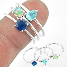 3.28cts natural sapphire ethiopian opal topaz 925 silver 3 rings size 8 t50976