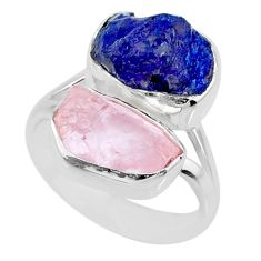 11.07cts natural sapphire raw rose quartz rough 925 silver ring size 6 r73845