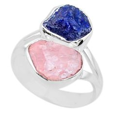 11.04cts natural sapphire raw rose quartz rough 925 silver ring size 7 r73841