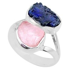 11.04cts natural sapphire raw rose quartz rough 925 silver ring size 7 r73843