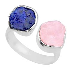 11.04cts natural sapphire raw rose quartz rough 925 silver ring size 7 r73849