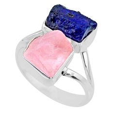 11.55cts natural sapphire raw rose quartz rough 925 silver ring size 8 r73842