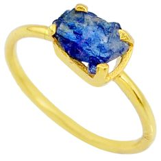 3.65cts natural sapphire rough 925 silver 14k gold solitaire ring size 8 r70608