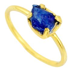 4.03cts natural sapphire raw 925 silver 14k gold solitaire ring size 9 r70606