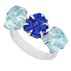 8.87cts natural sapphire raw aquamarine 3 stone 925 silver ring size 7 t7085