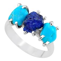 8.73cts natural sapphire rough raw turquoise 925 silver ring size 8 t15090
