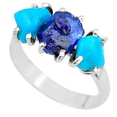 8.32cts natural sapphire rough raw turquoise 925 silver ring size 8 t15093