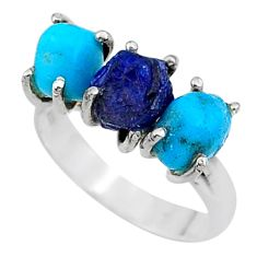 7.97cts natural sapphire rough raw turquoise silver ring size 7 t15061