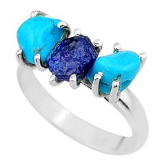 7.56cts natural sapphire rough raw turquoise silver ring size 9 t15065