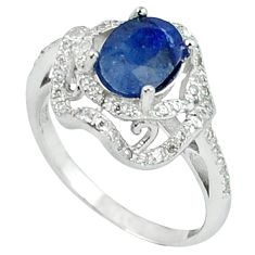 4.62cts natural blue sapphire topaz 925 sterling silver ring size 7 c17928