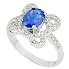 4.67cts natural blue sapphire topaz 925 sterling silver ring size 8 c17925