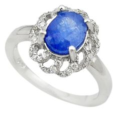 Natural blue sapphire white topaz 925 sterling silver ring size 5.5 c17924