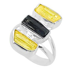 11.07cts natural scapolite tourmaline raw 925 silver ring size 6 r73674