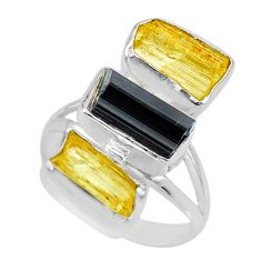 13.77cts natural scapolite tourmaline raw 925 silver ring size 9 r73677