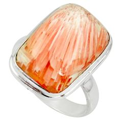 11.66cts natural scolecite high vibration crystal 925 silver ring size 8 r39440