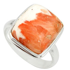 8.75cts natural scolecite high vibration crystal 925 silver ring size 9 r39433