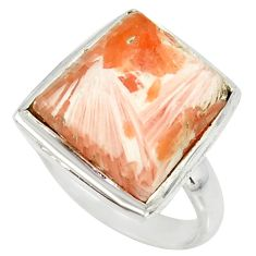 11.66cts natural scolecite high vibration crystal 925 silver ring size 9 r39436