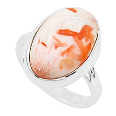 10.37cts natural scolecite high vibration crystal 925 silver ring size 9 r95745
