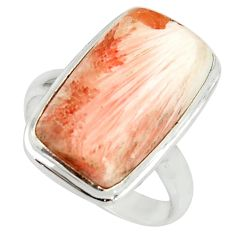 13.85cts natural scolecite high vibration crystal silver ring size 8.5 r39434