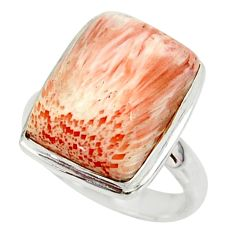 10.55cts natural scolecite high vibration crystal silver ring size 6.5 r39437