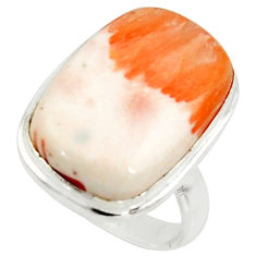 14.72cts natural scolecite high vibration crystal silver ring size 5.5 r39455