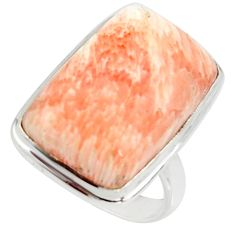 15.03cts natural scolecite high vibration crystal silver ring size 6.5 r39457
