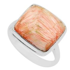 15.72cts natural scolecite high vibration crystal silver ring size 10.5 r95798