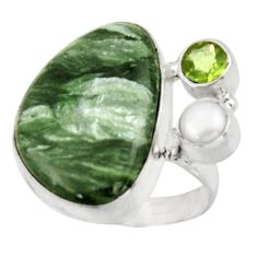 18.46cts natural seraphinite (russian) 925 silver solitaire ring size 8.5 d47446