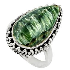 13.71cts natural seraphinite (russian) 925 silver solitaire ring size 7.5 r28293