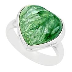 7.97cts natural seraphinite (russian) 925 silver solitaire ring size 6 r84719