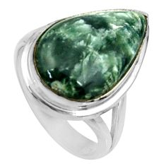 11.44cts natural seraphinite (russian) 925 silver solitaire ring size 7 r28295