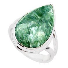 12.68cts natural seraphinite (russian) 925 silver solitaire ring size 7 r95658