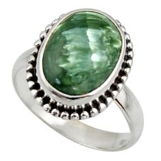 6.04cts natural seraphinite (russian) 925 silver solitaire ring size 8 d47514