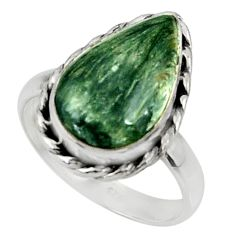 8.94cts natural seraphinite (russian) 925 silver solitaire ring size 9 r28299
