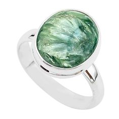 6.34cts natural seraphinite (russian) 925 silver solitaire ring size 9 r95644