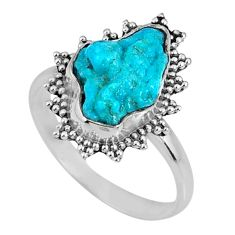 4.51cts natural sleeping beauty turquoise rough 925 silver ring size 7.5 r62207
