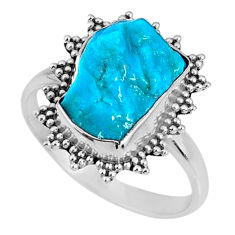 4.75cts natural sleeping beauty turquoise rough 925 silver ring size 7.5 r62208