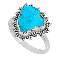 4.51cts natural sleeping beauty turquoise rough 925 silver ring size 8.5 r62214