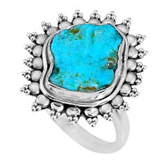 5.96cts natural sleeping beauty turquoise rough 925 silver ring size 7.5 r62226
