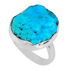 9.83cts natural sleeping beauty turquoise rough 925 silver ring size 7.5 r62297