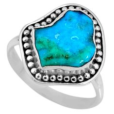 5.22cts natural sleeping beauty turquoise rough 925 silver ring size 7.5 r62342